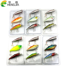 6 Patterns 2 Sets/lot Fishing Lures Set With Blister Card Package Artificial Lures Set Fishing Tackle HJ064 Free shipping