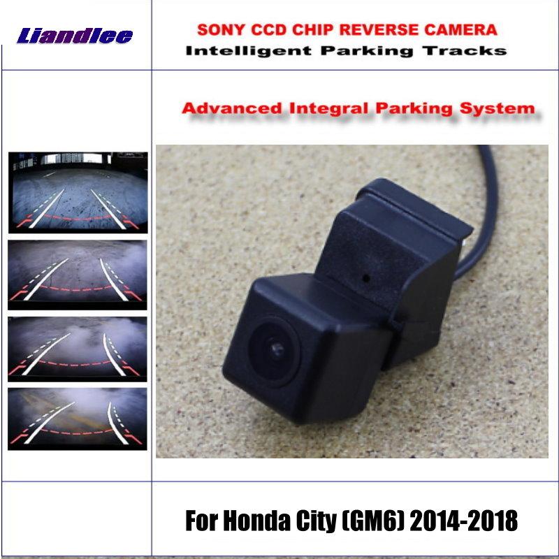 HD CCD SONY Rear Camera For Honda City (GM6) 2014-2018 Intelligent Parking Tracks Reverse Backup / NTSC RCA AUX 580 TV Lines backup rear reverse camera for roewe 350 mg 350 2010 2016 hd 860 576 pixels 580 tv lines intelligent parking tracks