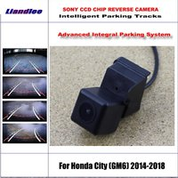 HD CCD SONY Rear Camera For Honda City (GM6) 2014 2018 Intelligent Parking Tracks Reverse Backup / NTSC RCA AUX 580 TV Lines