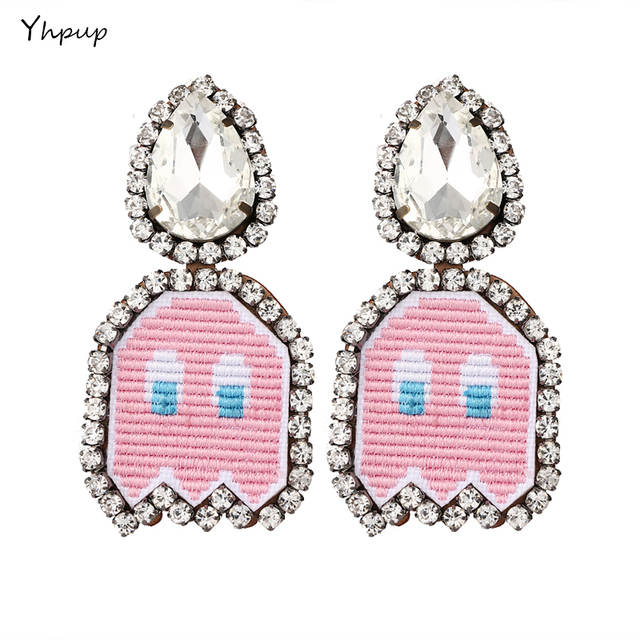 Yhpup Trendy Cute Face Pink Clip Earrings For Women Statement Crystal Anime Leather Charm