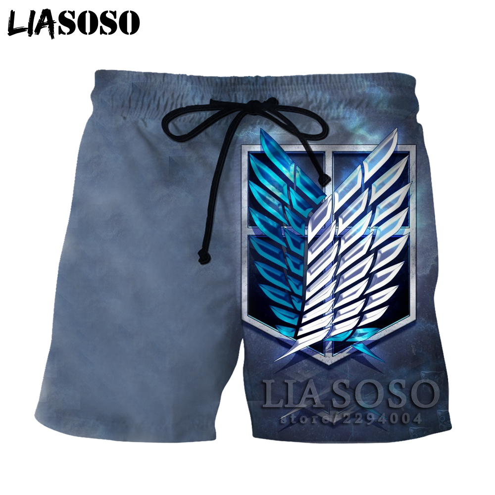 LIASOSO Japanese Anime Attack on Titan shorts in mens shorts Short Sleeve Hip Hop 3D O-neck summer shorts ata157