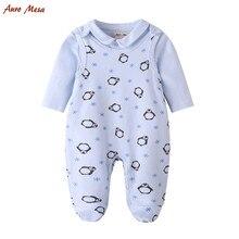 Mignon Pingouin Automne Bébé Ensemble Complet Body avec Globale 100% Coton Unisexe Infantile Vêtements Outfit