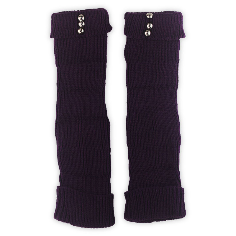 4 Pairs comfort Purple Knitted Button Decoration Leg warmer for Women/female/girl/lady, Clothes Accessories Boot Cuff 37cm LM907