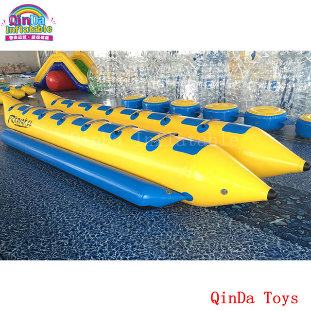 14 persons pontoon boat inflatable fly fish,double tubes inflatable flying  banana boat for sale