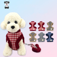 Pet dog winter plus velvet chest strap breathable small medium warm pet vest traction rope leash high quality China