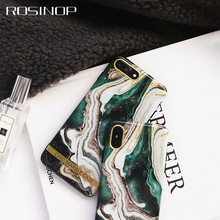 ROSINOP Luxury Marble Case For iphone 7 6 8 plus Original Soft TPU Fitted Cases xs max x xr Protective Cover