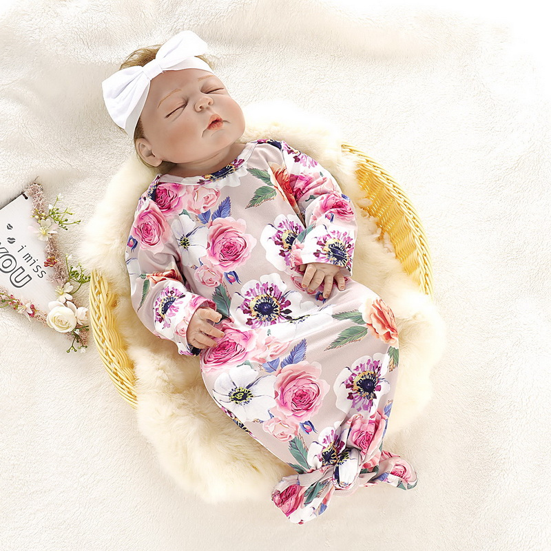 Bebê recém-nascido Bonito de Algodão De Manga Longa Floral Impressão Unisex Bebe Menino Meninas Bodysuit com Headwear do bebê Saco de Dormir D20