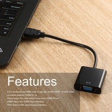 лучшая цена HDMI Male to VGA RGB Female HDMI to VGA Video Converter adapter HDMI Cable 1080P HDTV Monitor for PC