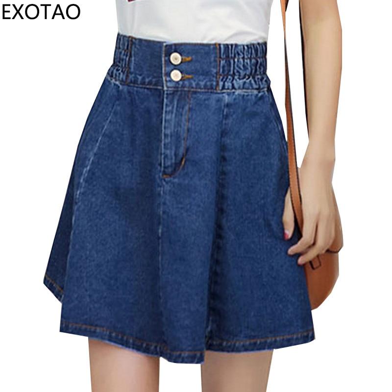 125b23b5c8 EXOTAO Alta Cintura Mini Saias Plus Tamaño Denim Jupe Faldas A-line Loose  Streetwear Faldas