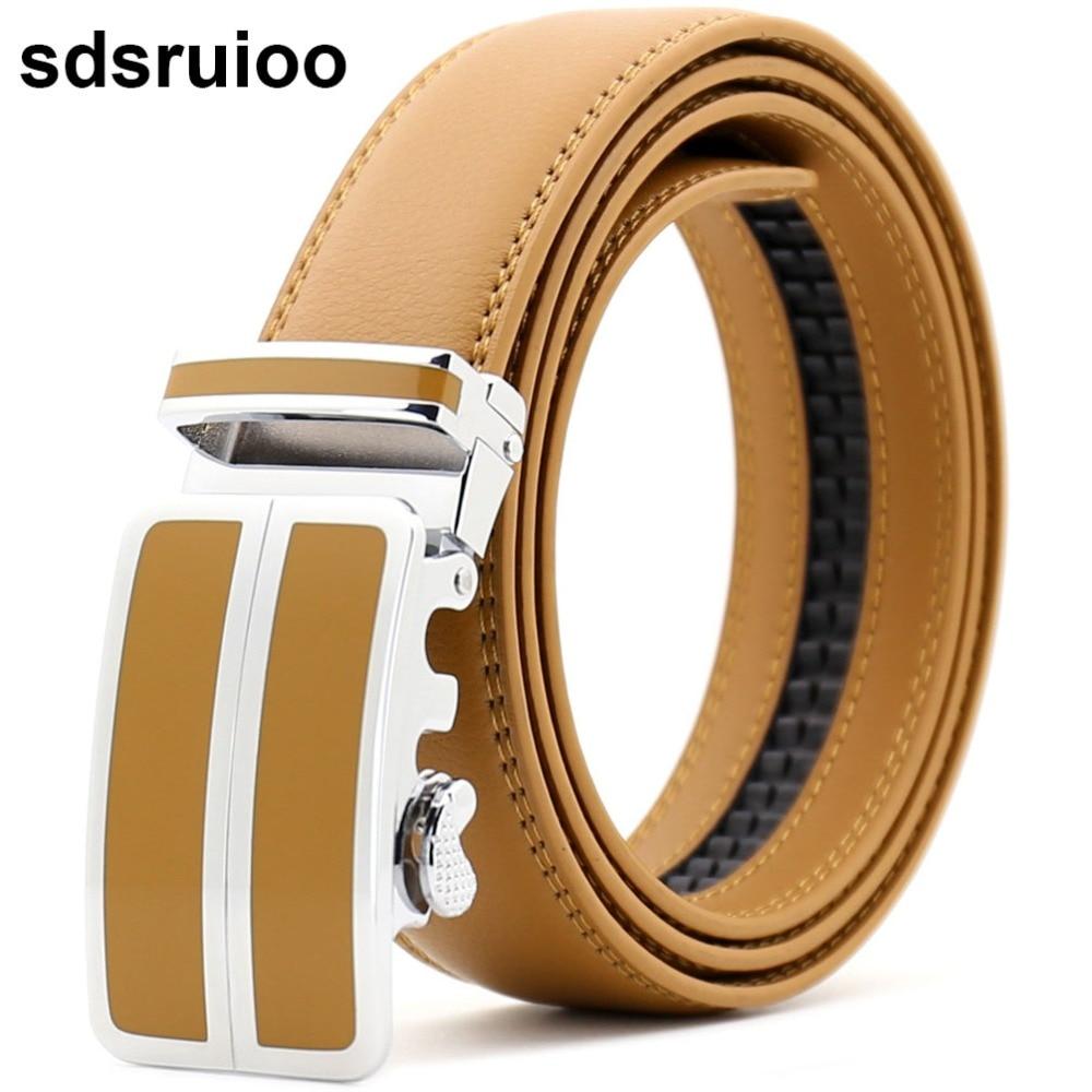 Orange Genuine Leather Mens Belts Golden Solid Automatic Buckles Ratchet Belts