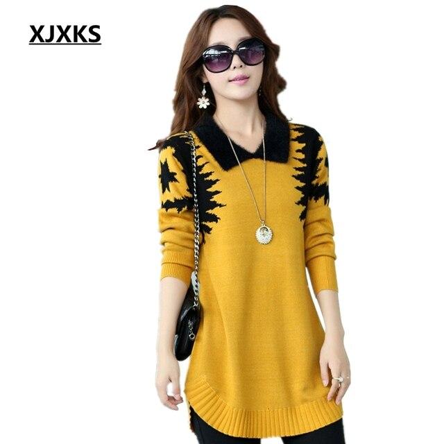 XJXKS תורו למטה צווארון סוודר שמלת נשים בתוספת גודל בסוודרים בינוני ארוך בסיסי הדפסת slim ropa mujer צמר קשמיר סוודר