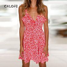 CALOFE 2018 Lace Up Floral Print Mini Dress Deep V Neck Spaghetti Strap Boho Summer Dress Off Shoulder Sexy Beach Sundress