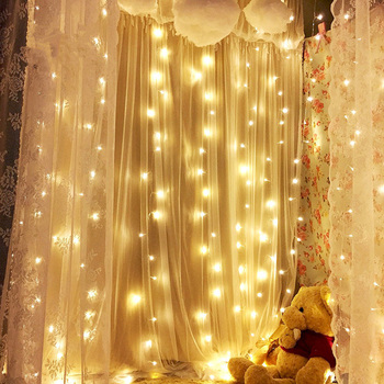 Thrisdar 3X2 M 240 LED Tirai Es Fairy String Lampu Outdoor Pesta Natal Pernikahan Window Festoon LED String light Garland