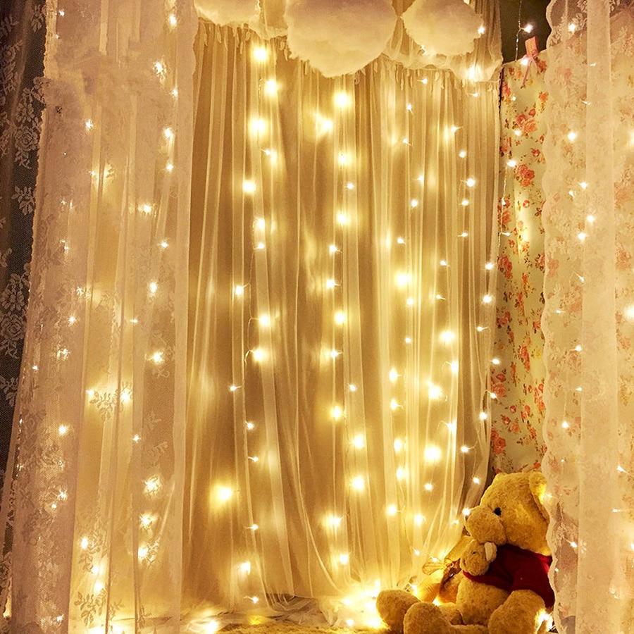 Thrisdar 3x2M 240 LED Curtain Icicle Fairy String Light Outdoor Christmas Wedding Party Window Festoon LED String Light Garland