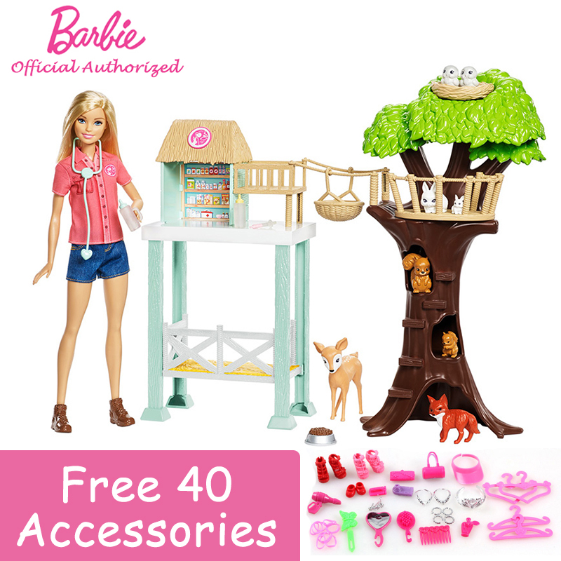 Barbie Animal Rescuer Doll Playset Lovely Animal Doctor Pretend Toy Animal House Toy Building Little Girl