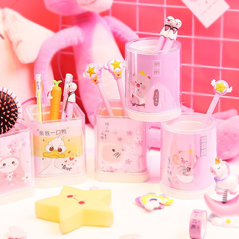 Fashion Pen Holder Cute Cartoon Pen Bucket Small Fresh Desktop Ornaments Storage Bucket Student StationeryFashion Pen Holder Cute Cartoon Pen Bucket Small Fresh Desktop Ornaments Storage Bucket Student Stationery