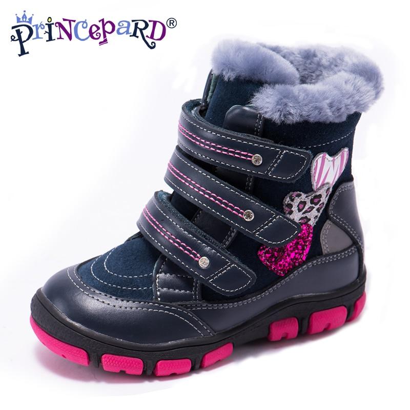 Princepard 2018 разноцветные зимние ортопедические сапоги для детей 100% натуральный мех Натуральная кожа ортопедическая обувь для девочек и мальч...