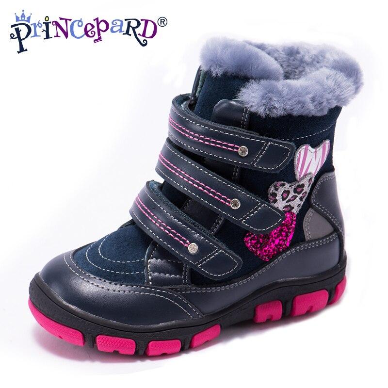 Princepard 2018 bottes orthopédiques d'hiver multicolores pour enfants 100% fourrure naturelle en cuir véritable chaussures orthopédiques garçons fille 21-36