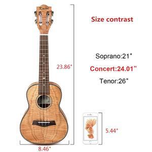 Image 2 - Kmise Concert Ukulele 23 inch Ukelele Tiger Flame Okoume Starter Kit Classical Guitar Head with Gig Bag Tuner Strap String