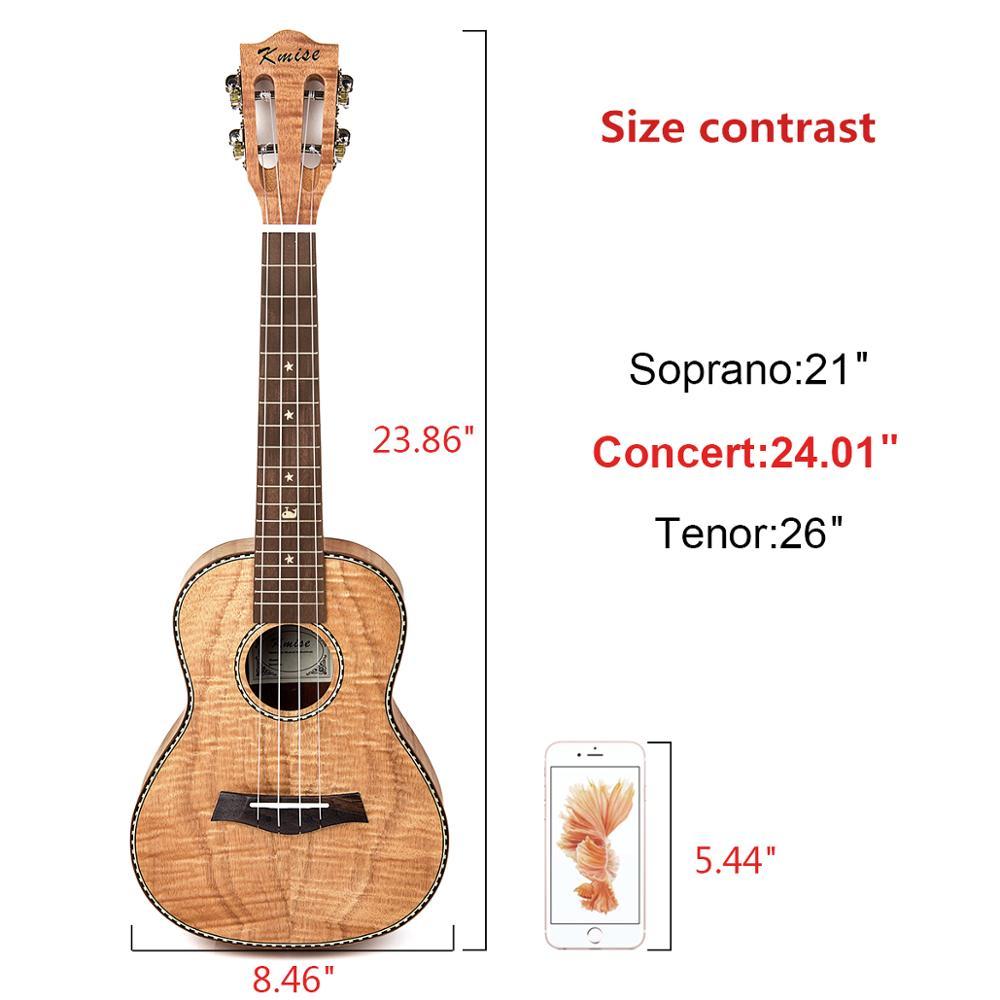 Kmise Concert ukulélé 23 pouces Ukelele tigre flamme okoumé Kit de démarrage guitare classique tête avec sac de Concert accordeur sangle chaîne - 2