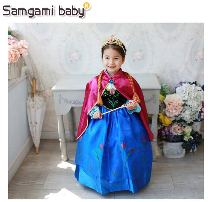 SAMGAMI BABY New Year Girls Anna Elsa Cinderella Dresses Children Kids Baby Clothing Child Costume Dresses Princess Clothes 3-8Y