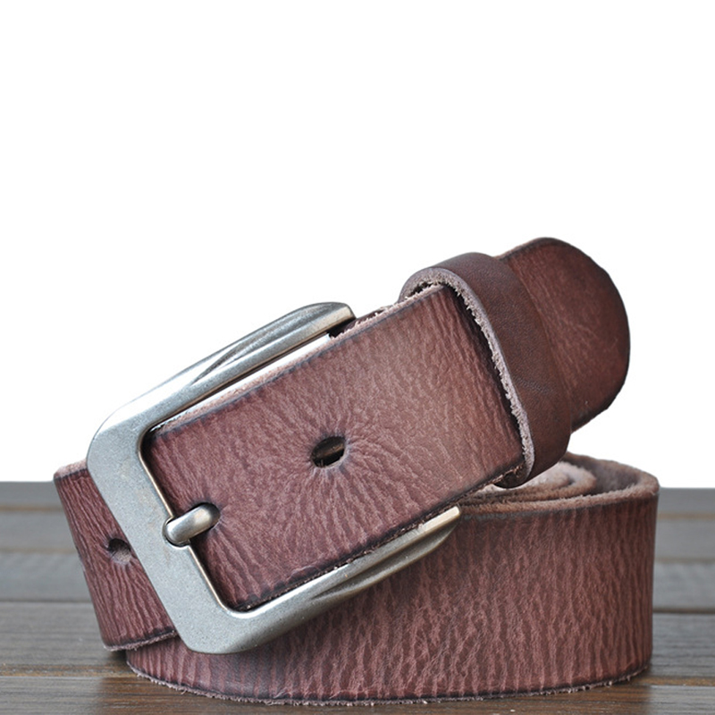 winter luxury leather belt for men good quality cow skin men's leather belt brown color free shipping