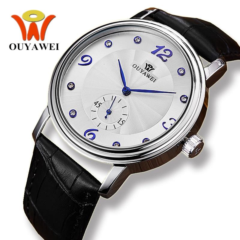 Ouyawei Heren Business Automatic Mechanisch Echt Zwart Lederen - Herenhorloges