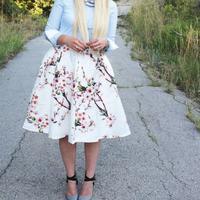 Brand new mùa hè nữ vintage bán hot lolita cao eo thời trang peach flowers floral print xếp li váy cô gái trẻ cô gái giản d