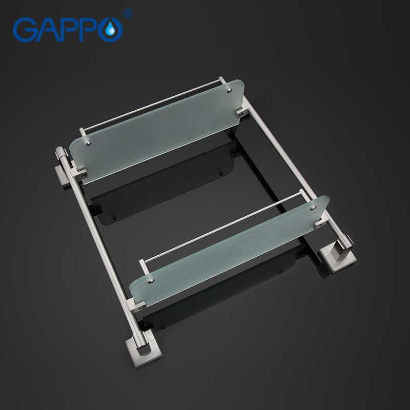 GAPPO Top Quality naścienne półki łazienkowe szklane podwójne półki półka na akcesoria sprzętowe G1707-2