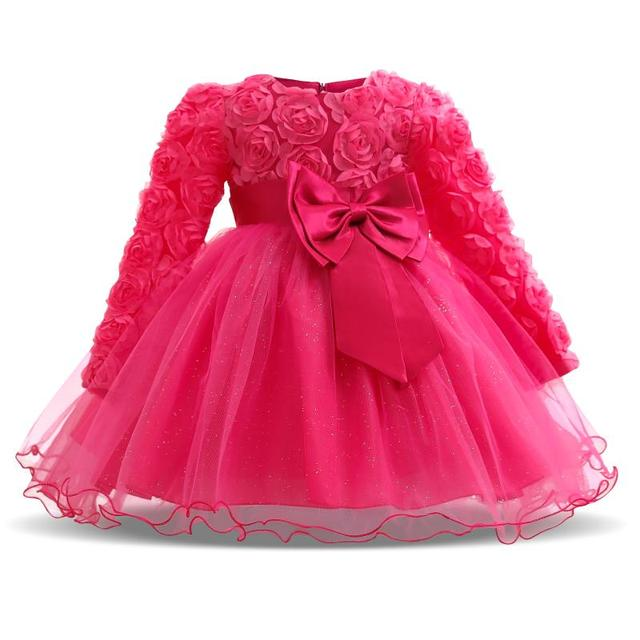 Fashion Formal Newborn Wedding Dress Baby Girl Bow Pattern For