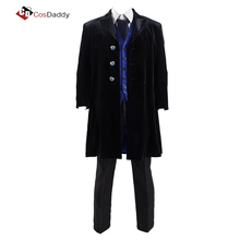 doctor who cosplay costume trench vest pant tie full set  COSDADDY