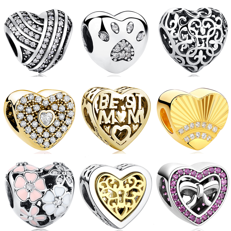 Classic Beads Heart Charm Fit Original Pandora Charms Bracelet Necklace 925 Sterling Silver Bead Women DIY berloque Jewelry