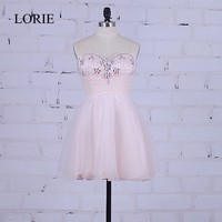 Short Prom Dresses Blush Pink 2017 LORIE Vestidos de gala largos Sweetheart Rhinestones Sexy Girls Homecoming Party Dresses