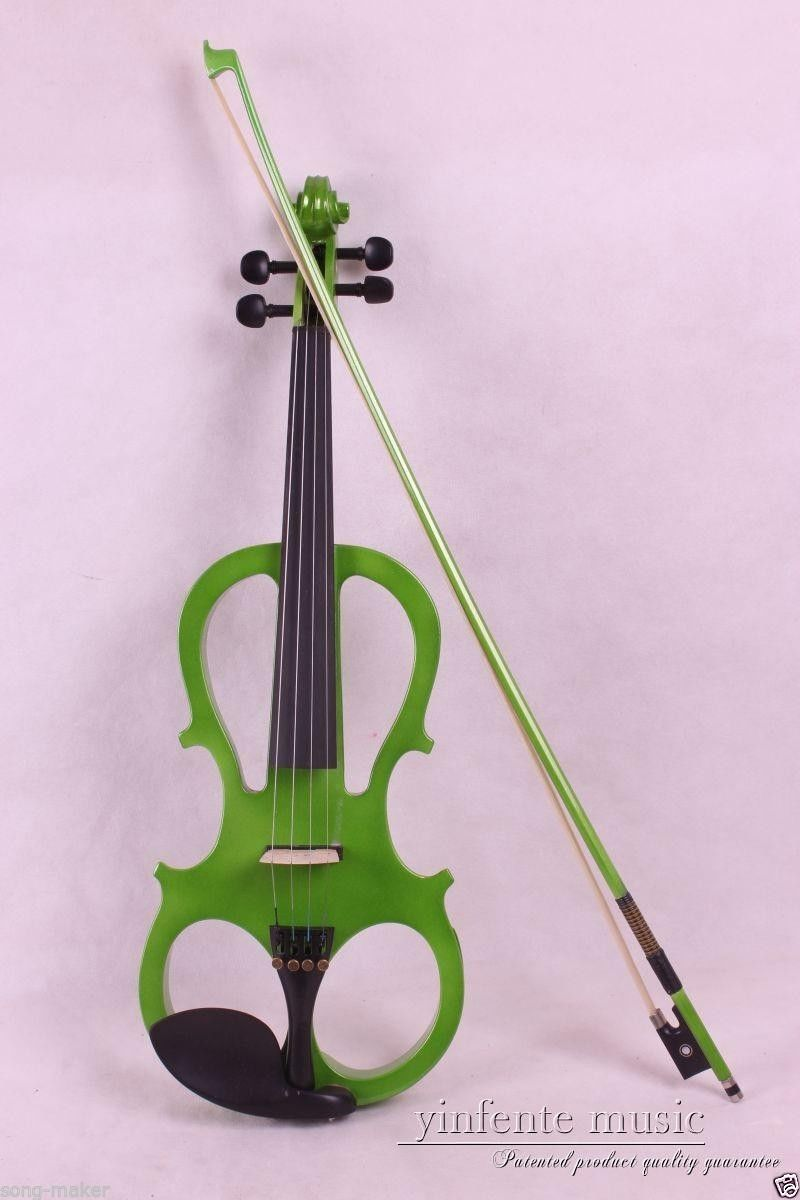 New Green 4 String 4/4 Electric Violin solid wood green Bow High quality цена