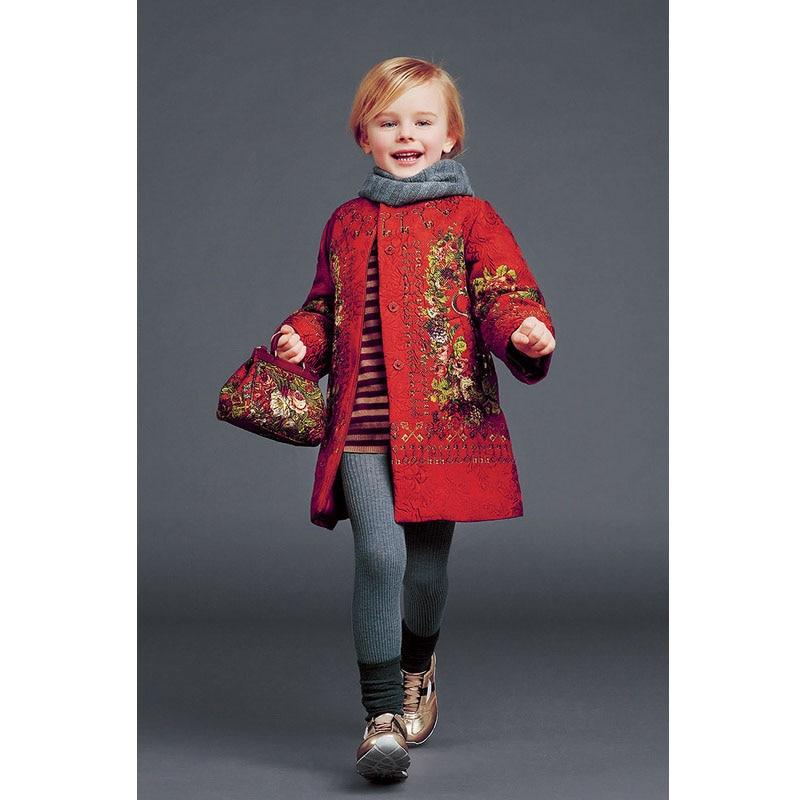Мода червени момичета жилетка печат дете зимни палта фестивал Коледа пижама марка Коледа момиче дрехи