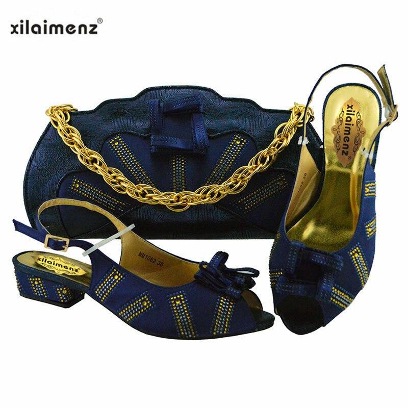 اللون الأخضر الأفريقي السيدات مع حقيبة مطابقة كعوب منخفضة الايطالية حذاء وحقيبة مجموعة للحزب و الزفاف النيجيري أحذية و حقيبة-في أحذية نسائية من أحذية على  مجموعة 2