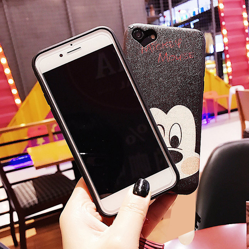 Cute Case For iPhone 8 8plus Love Mickey Minnie Star Black Matte Soft TPU Plastic Back phone Case for iPhone 7 6 6S Plus Cover