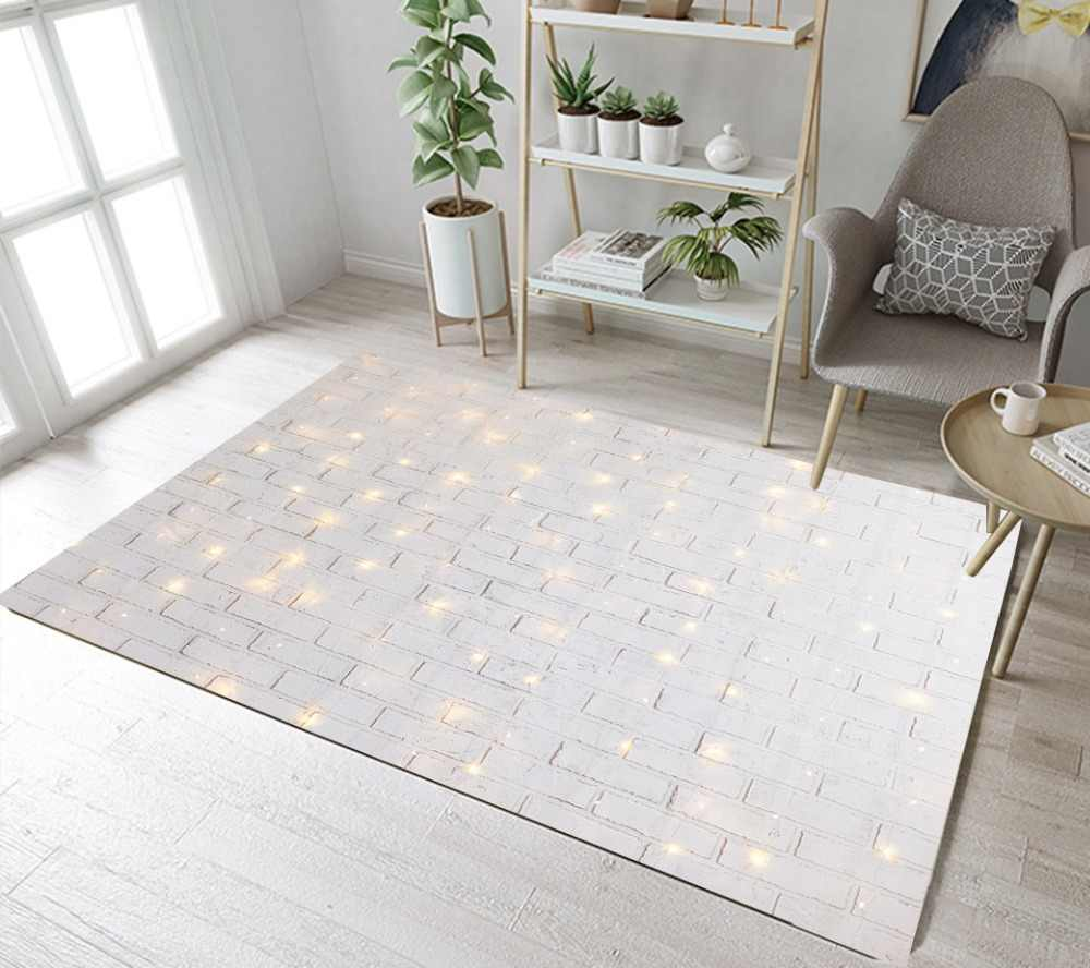 LB Christmas Shiny Lights On White Brick Wall Living Room Area Rugs Bedroom  Floor Carpets Bathroom Non-slip Mat Office Doormat