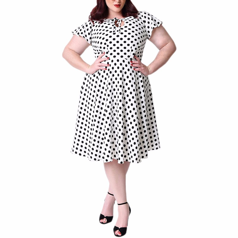 Unique_Vintage_Plus_Size_1940s_Style_White_Black_Dot_Formosa_Swing_Dress