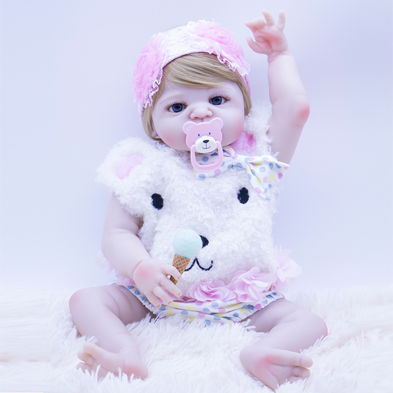 55cm Bebe Doll Reborn high quality full Silicone Girl Toy blue eyes Newborn Princess Babies doll for children Accompanying toy55cm Bebe Doll Reborn high quality full Silicone Girl Toy blue eyes Newborn Princess Babies doll for children Accompanying toy