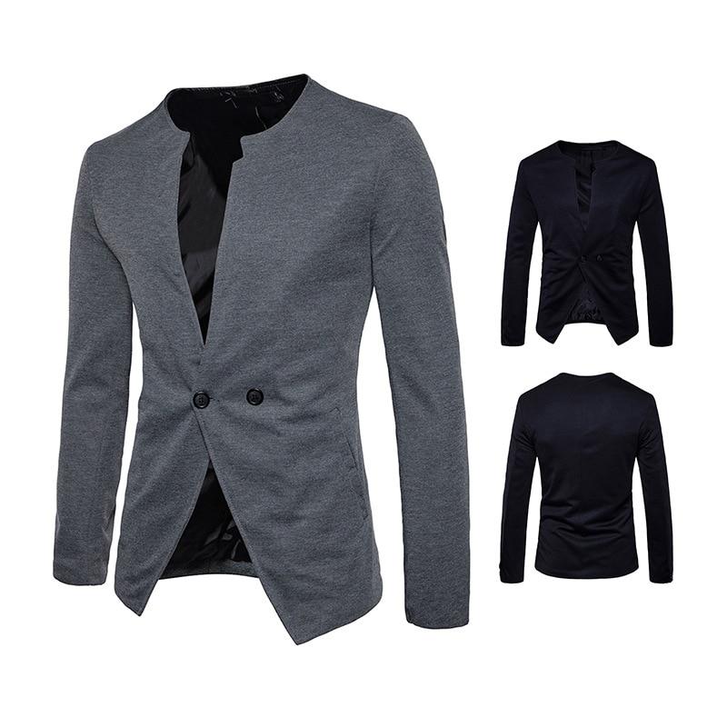 Men Casual Blazers Jackets Solid Plus size Party Dress Suit Autumn O-neck Coats Slim Fit Blazer Design