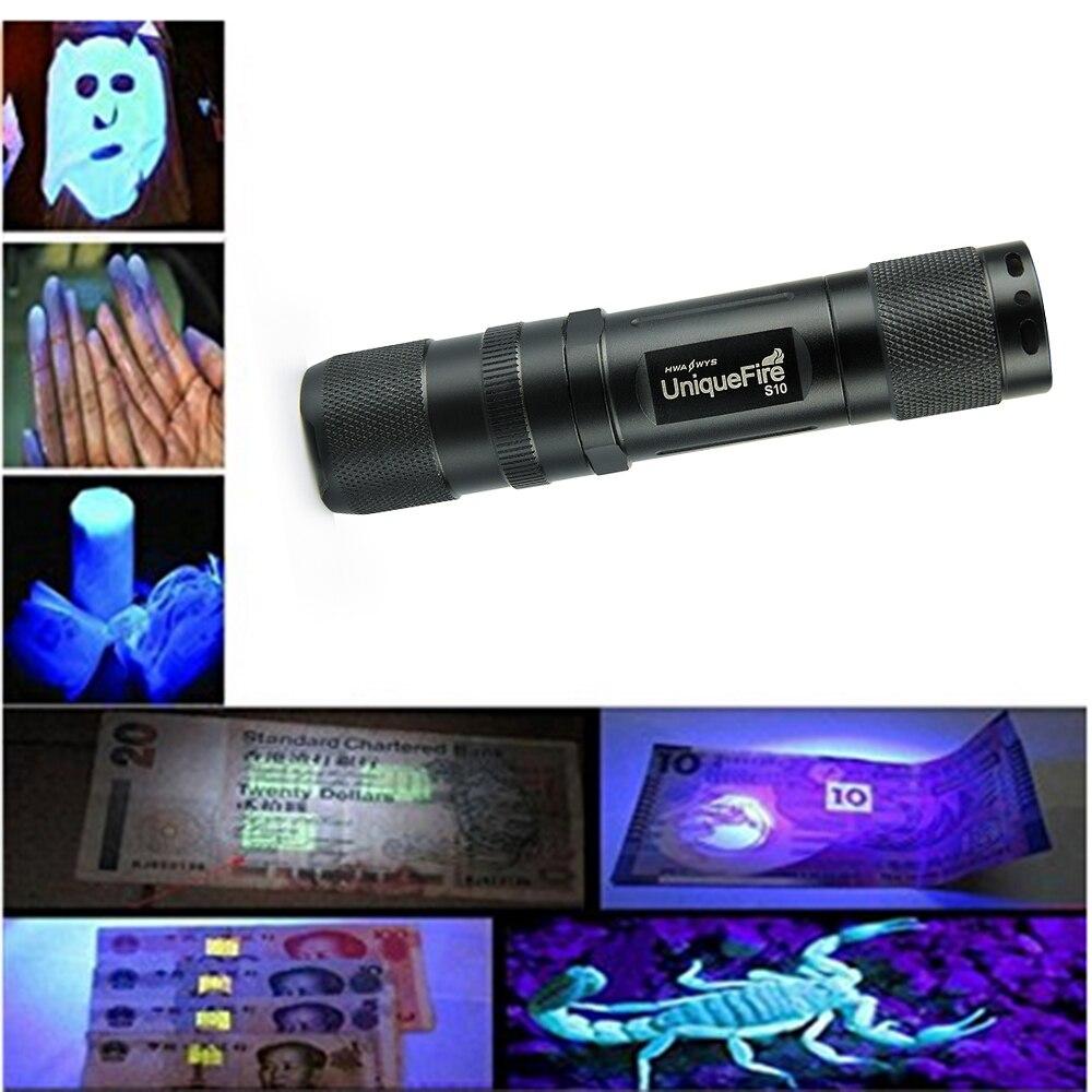 UniqueFire Torch Light S10 365nm Ultra Violet Light Blacklight UV Lamp 14500 Battery For Marker Checker Cash Detection jetem picnic s 102 violet
