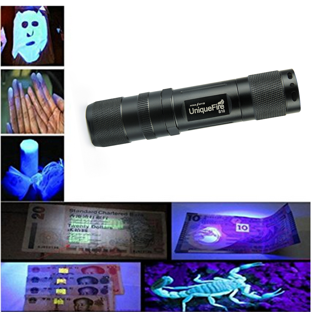 UniqueFire Torch <font><b>Light</b></font> S10 365nm Ultra Violet <font><b>Light</b></font> Blacklight UV Lamp 14500 Battery For Marker Checker Cash Detection