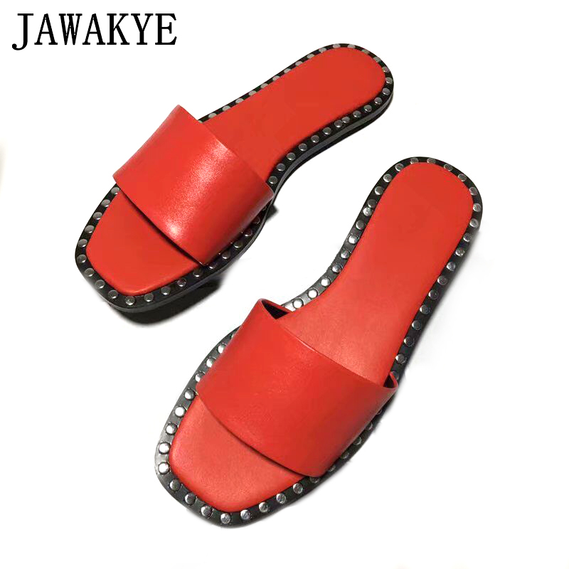 JAWAKYE Women flip flops Flat Beach Shoes slippers for Women Rivets Studded Summer Women flats Runway shoes Leather Slides geometric print color block splicing v neck long sleeve sweater