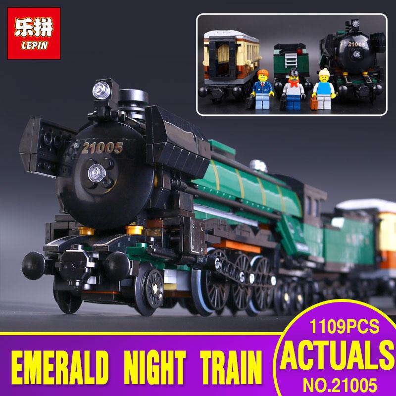 LEPIN 21005 Technic Series Emerald Night Train Model Building Kit Blocks Bricks Toy legoing 10194 Enducatianl Christmas Gift