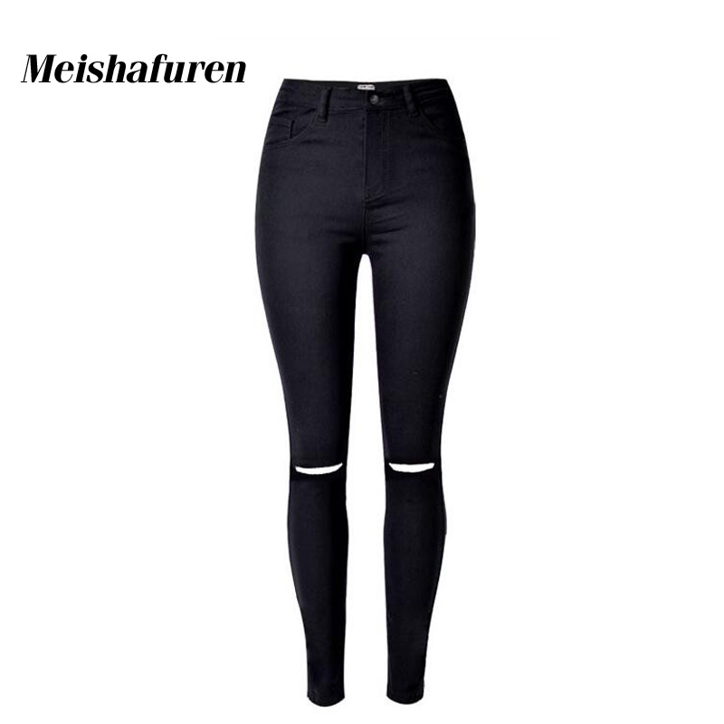 Donna Plus Size Women Jeans High Waist Slim Knee Ripped Black Denim Pencil Pants Female Full Length Fashion Skinny Jeans K111S rosicil new women jeans low waist stretch ankle length slim pencil pants fashion female jeans plus size jeans femme 2017 tsl049
