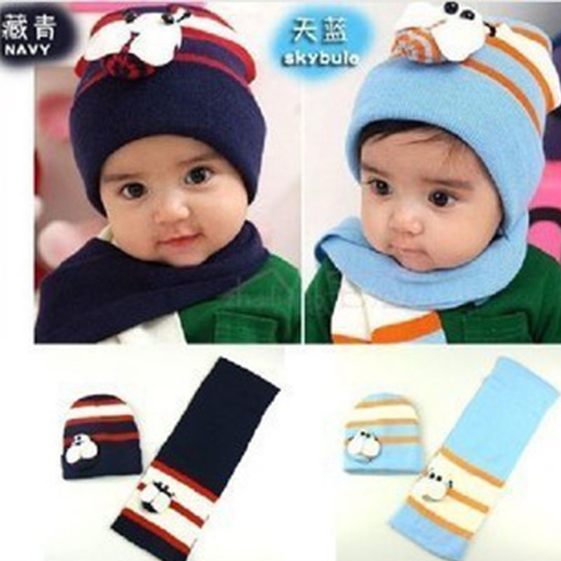 Top Sale New Arrival 8 Month to 2 Years Old Winter Warm Caps Boys Girls Hat Scarf Set Cute Knitted Cotton Hats