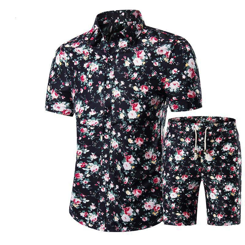 2019 New Summer Folk Style Fashion Floral Shirt Men's Sets Casual Shirts Short Sleeve Top  Vacation Beach  T Short +Shorts 1620
