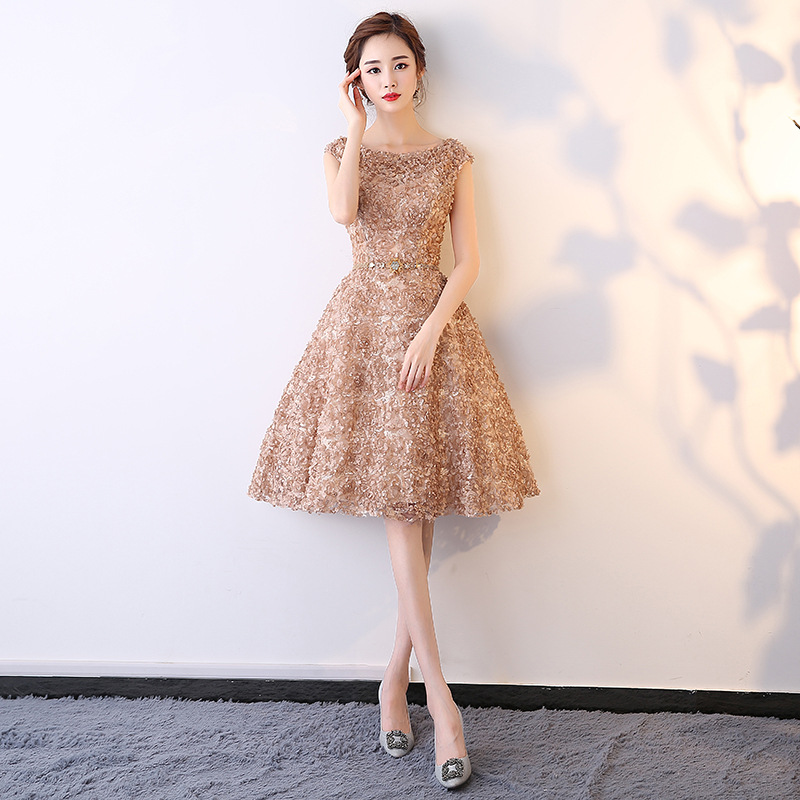 Champagne Oriental Style Banquet Dresses Chinese Vintage Wedding Cheongsam Elegant Evening Party Gowns Plus Size XS