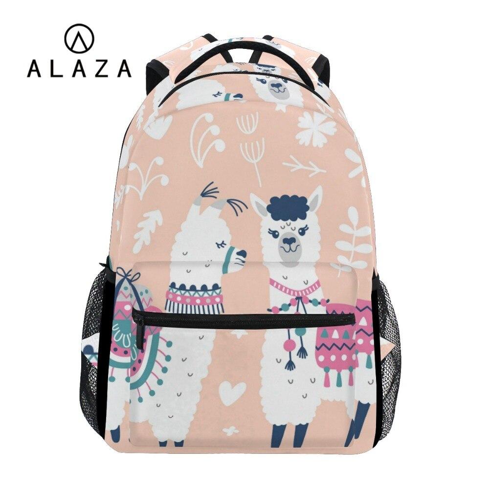 ALAZA NEW Cartoon Alpaca Printing Big Capacity Backpack Travel Bag Student School Bag Laptop Bags Custom